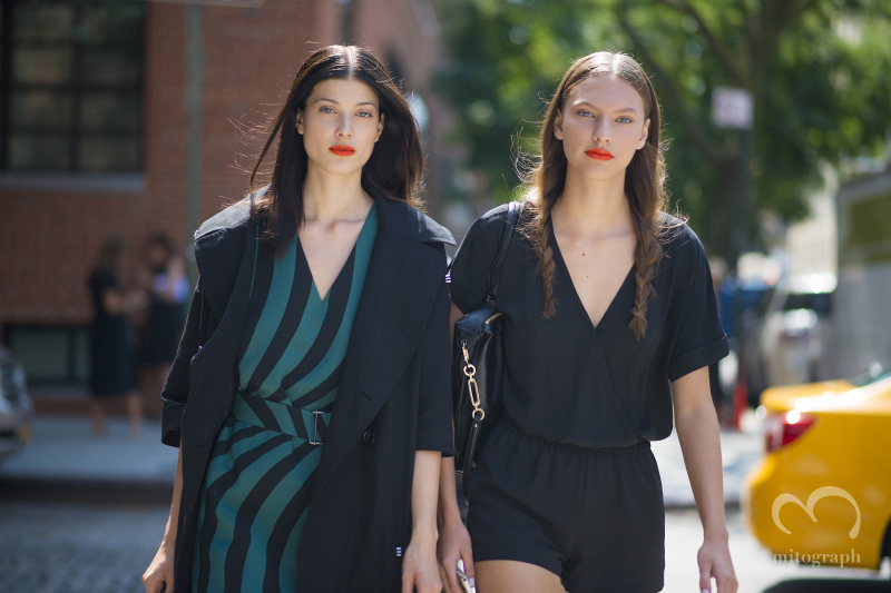 Model Larissa Hofmann and Maggie Jablonski leave Tanya Taylor 2015 Spring Summer show during New York Fashion Week NYFW