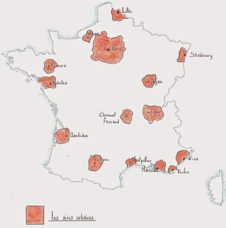carte de france aires urbaines