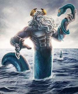 En la mitología griega este océano mundial era personificado como un Titán, hijo de Urano y Gea. En los mosaicos helenísticos y romanos (por ejemplo en Océano y Tetis, de Zeugma, siglo III) se representa con frecuencia a este Titán con el torso y brazos de un hombre musculoso con barba larga y cuernos (a menudo con pinzas de cangrejo), y con la parte inferior del cuerpo de una serpiente (compárese con Tifón). En fragmentos de una vasija arcaica fechada sobre 580 a. C., entre los dioses que acuden a la boda de Peleo y la ninfa marina Tetis aparece un Océano con cola de pez, llevando un pez en una mano y una serpiente en la otra, dones de recompensa y profecía. En los mosaicos romanos, como el de Bardo, puede aparecer llevando un timón y meciendo un barco.