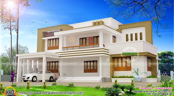 Modern flat roof house plan  by Vision int arch