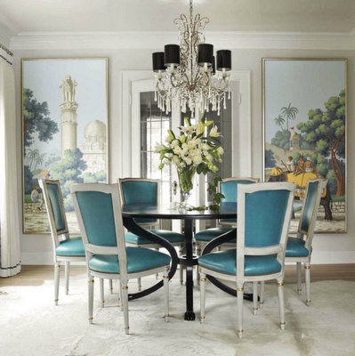 The glam pad hand painted chinoiserie dining rooms for Homes with beautiful dining rooms