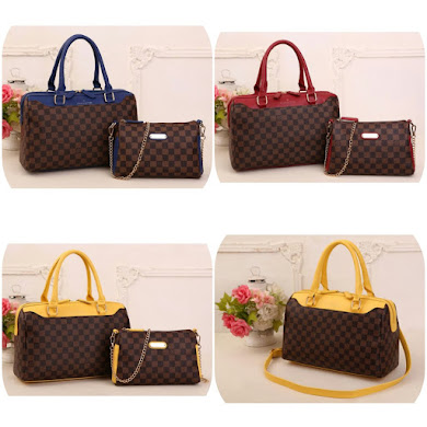 LV BAG  ( 2 IN 1 SET )– BLUE , YELLOW