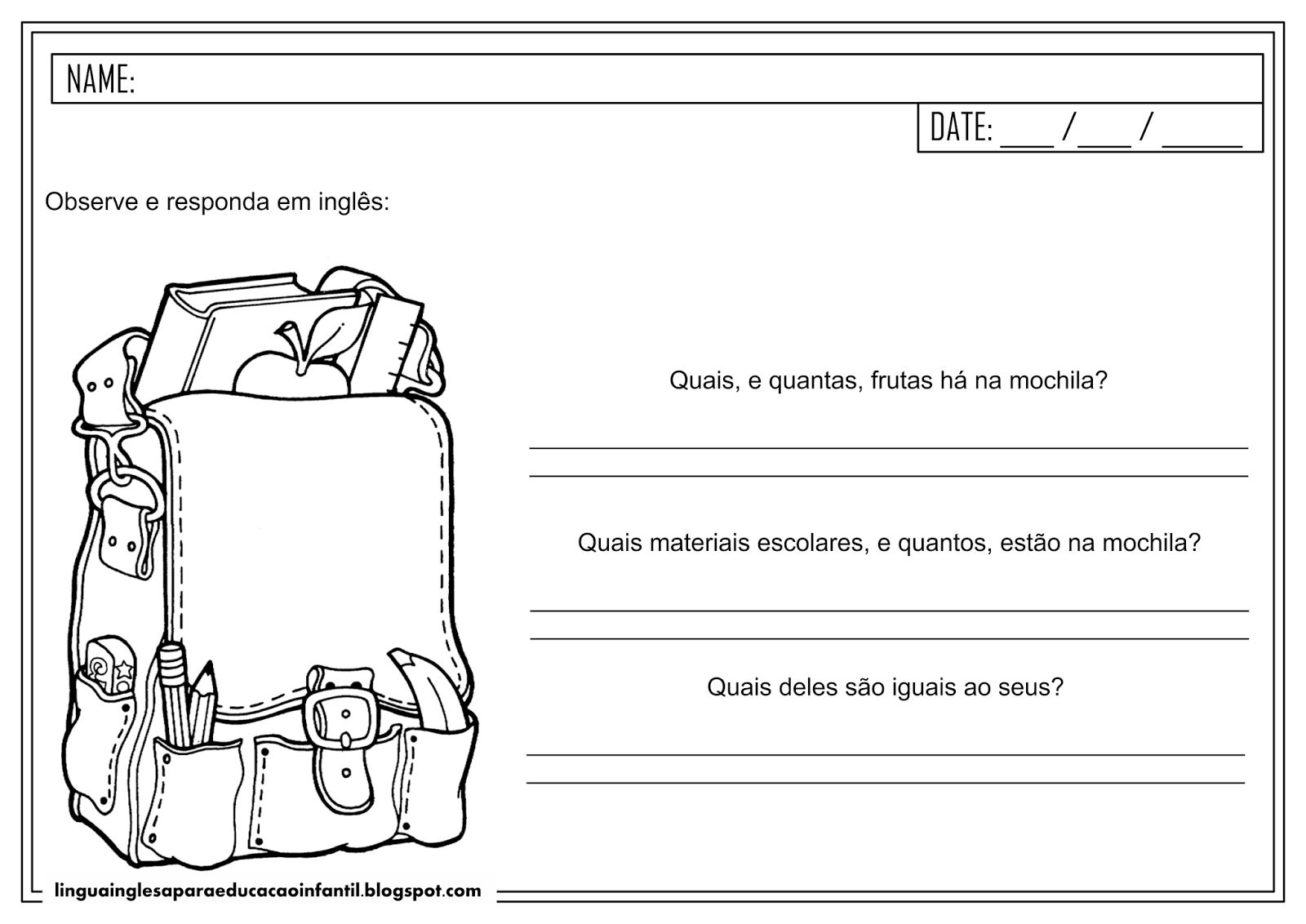 Atividade de Inglês para educação infantil