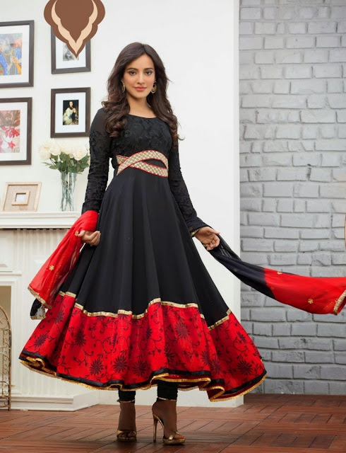 Black & Red Faux Georgette Anarkali Suit With Sequins Work