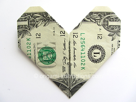 origamiinstructionscom money origami heart