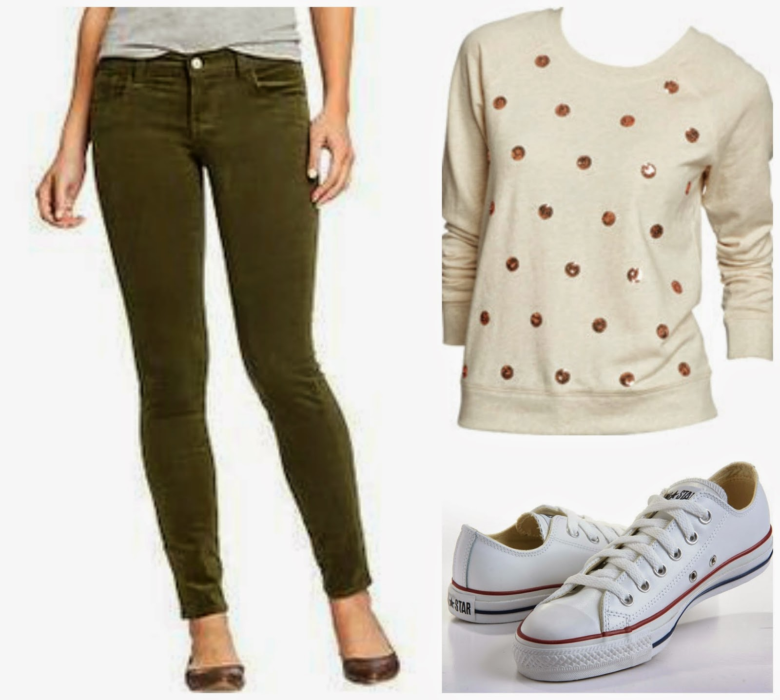 olive corduroy pants, sequined polka dot sweatshirt, converse