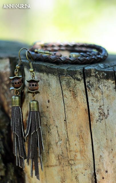 украшения, бижутерия, браслеты, кожа, кожаные браслеты, плетеные браслеты из кожи, сережки, сережки из кожи, коричневый, керамические бусины, натуральные материалы, этно, эко, кантри, бохо