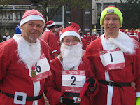 Steve, Jane and Pete after Liverpool Santa Dash 2010