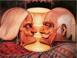 Quadro de dois idosos se entreolhando apaixonadamente. Na realidade a imagem é de dois homens cantando em um palácio com um alaúde e um cesto.