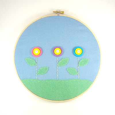 Button Flower Garden Embroidery Hoop