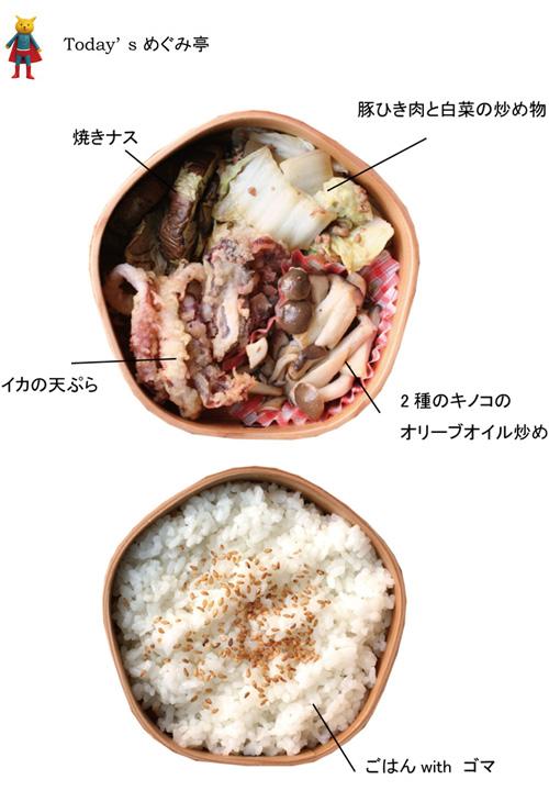 本日のお弁当ブログ、弁当のテーマは「ダイエットを意識した弁当」。おかずは、焼きナス、豚ひき肉と白菜の炒め物、イカの天ぷら、2種のキノコのオリーブオイル炒めです。