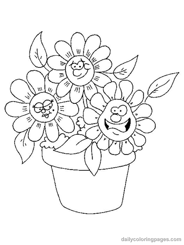 Cute Flower Coloring Pages title=