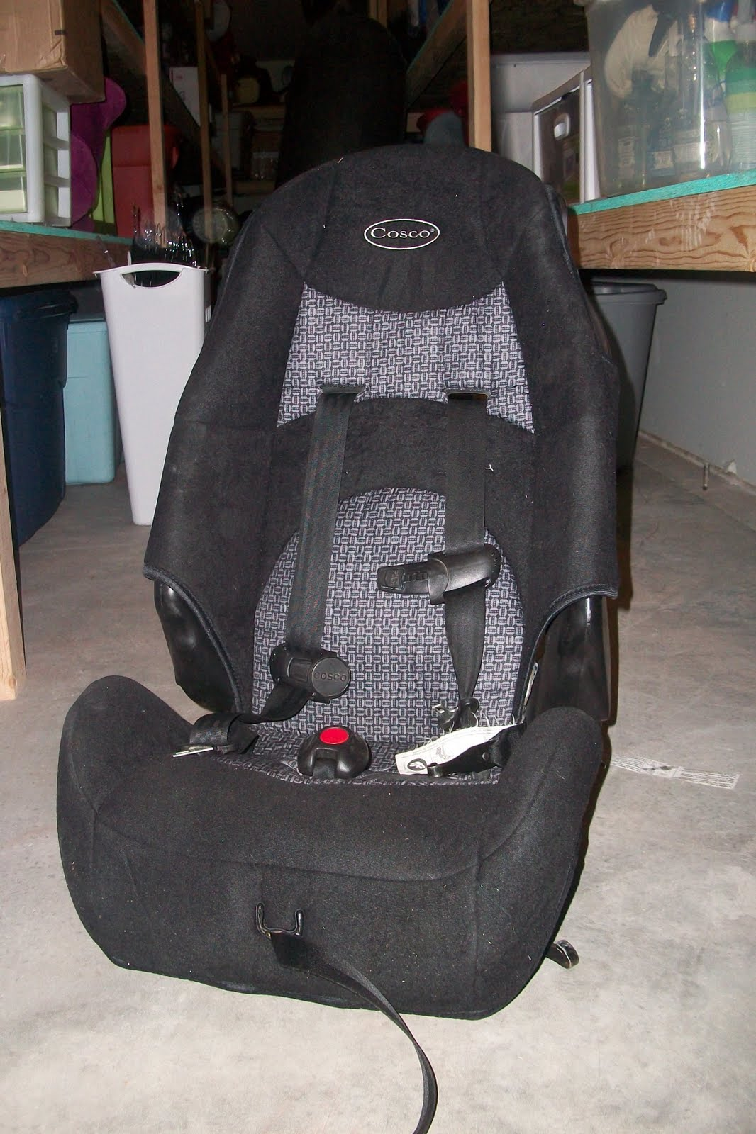Costco, black car seat. This would be the second size a child would ...