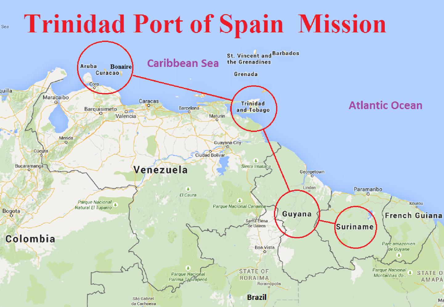 Map of Trinidad Port of Spain Mission
