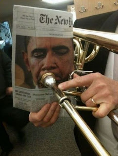 barack obama playing trumpet