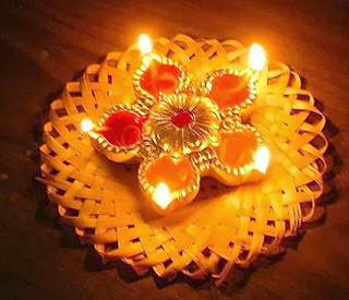 diwali diyas and rangoli decoration
