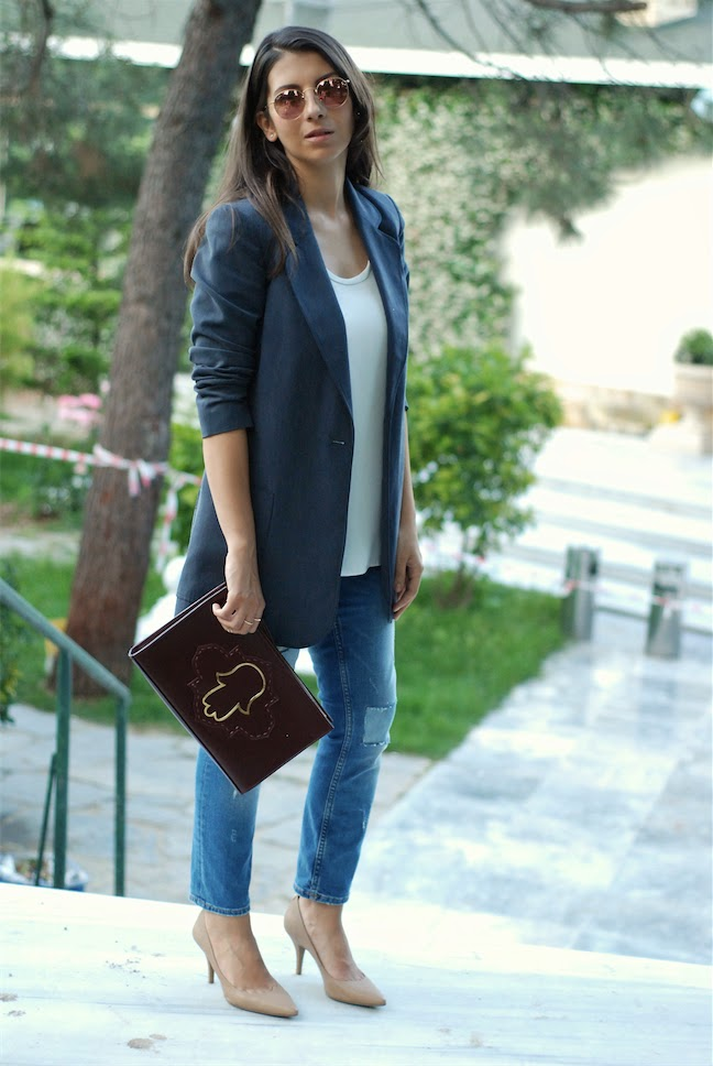 streetstyle,trendydolap.blogspot.com,mehry mu bags,michael kors nude pump,effortless chic,cigarette jeans,blazer
