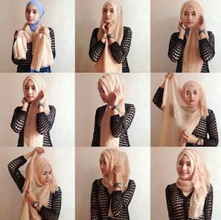 Kreasi Cara Memakai hijab Monochrome Segi Empat