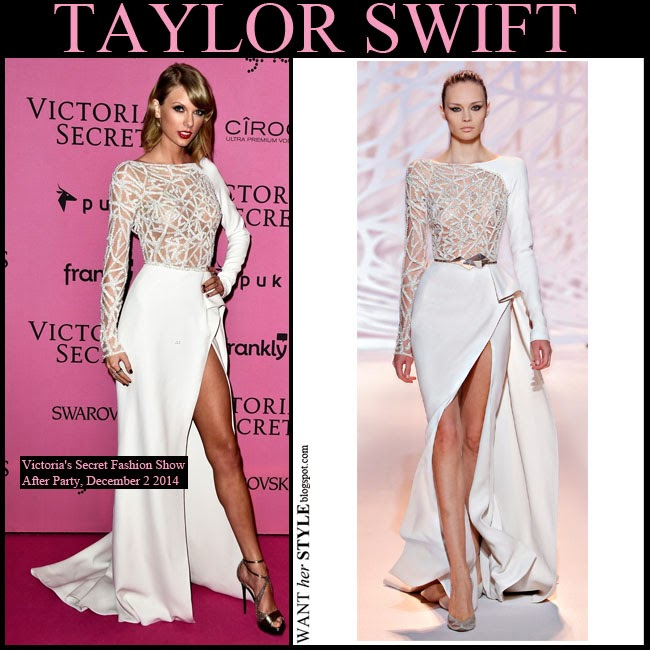 WHAT SHE WORE: Taylor Swift in white long sleeve asymmetric gown ...