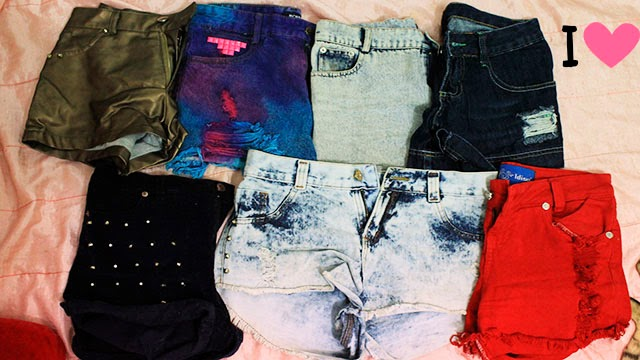 shorts, shorts jeans, coleção de shorts, shorts destroyed, shorts coloridos