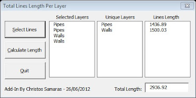 AutoCAD – Total Length Of Lines Per Layer