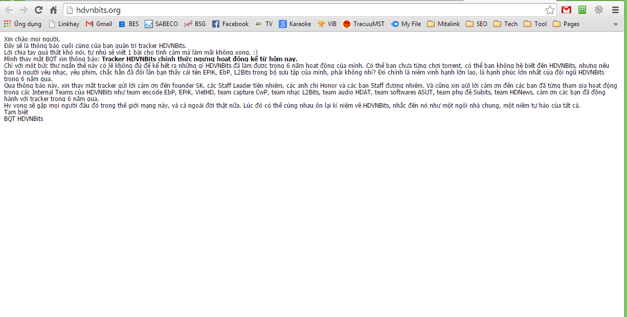 Diễn đàn HDVNBits tuyên bố đóng cửa