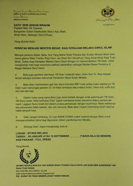 Sultan Melaka Lantik Anwar Ibrahim Sebagai Menteri Besar Melaka Darul Islam