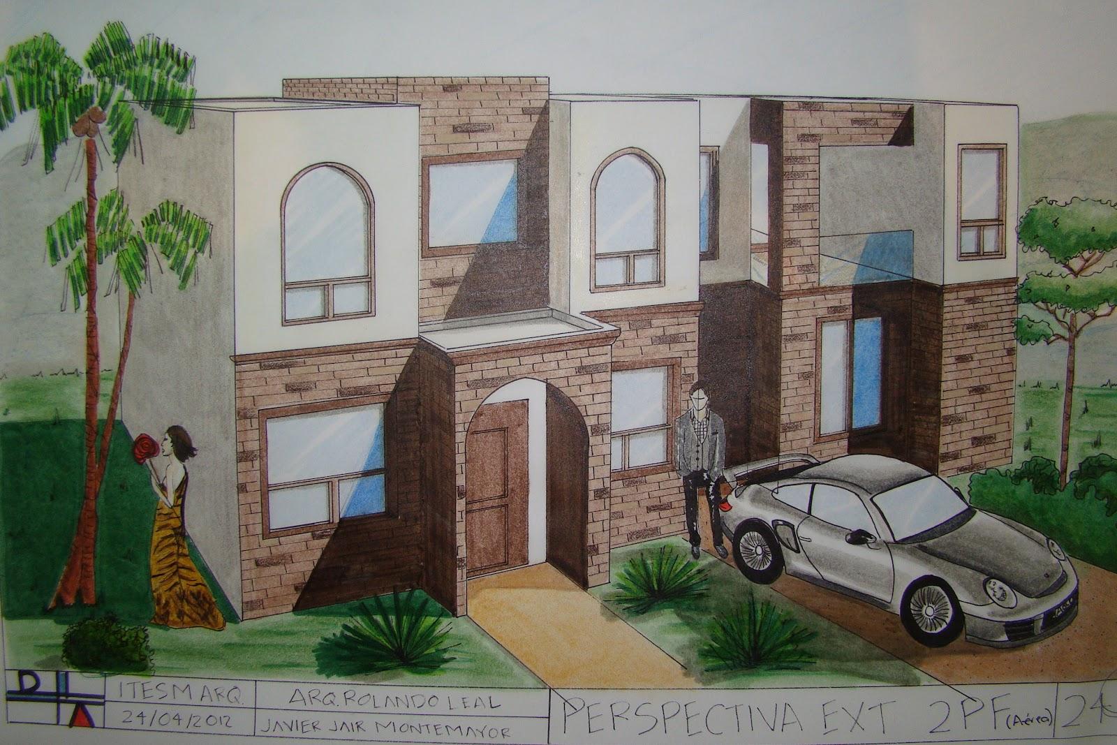 Dibujo arquitect nico perspectiva exterior a rea de 2 for Exterior un punto de fuga