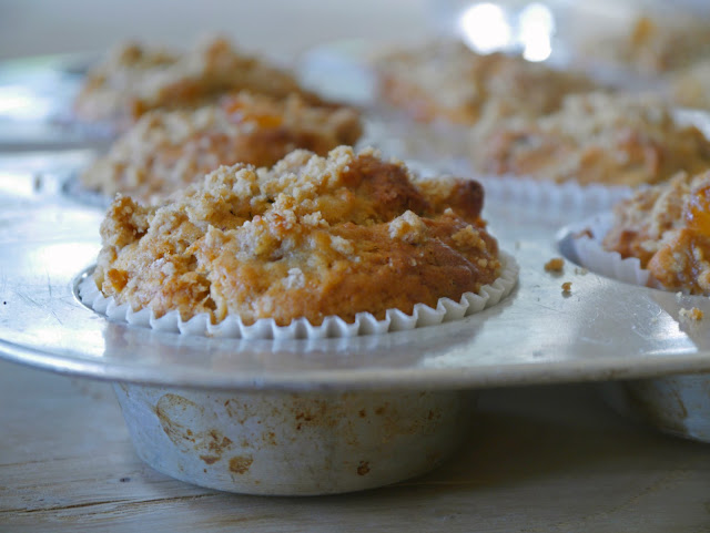 Ginger, chocolate and pear streusel muffins