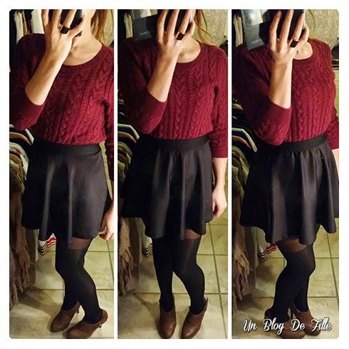 un blog de fille ootd jupe patineuse noire et pull bordeaux. Black Bedroom Furniture Sets. Home Design Ideas