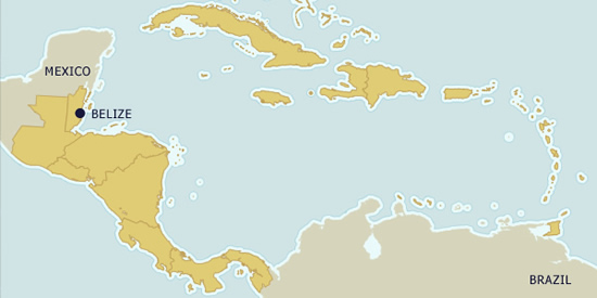 Belize on the map