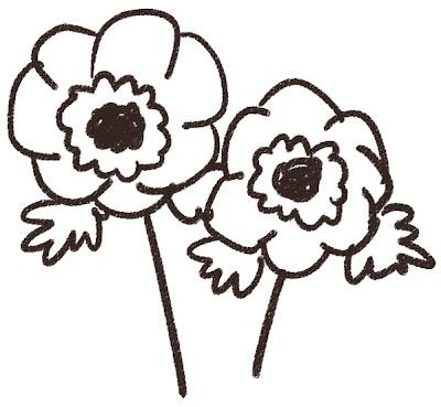 アネモネのイラスト(花) モノクロ線画