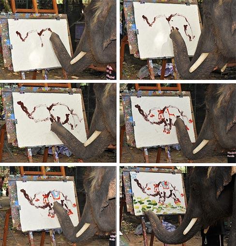 Um elefante pintor!