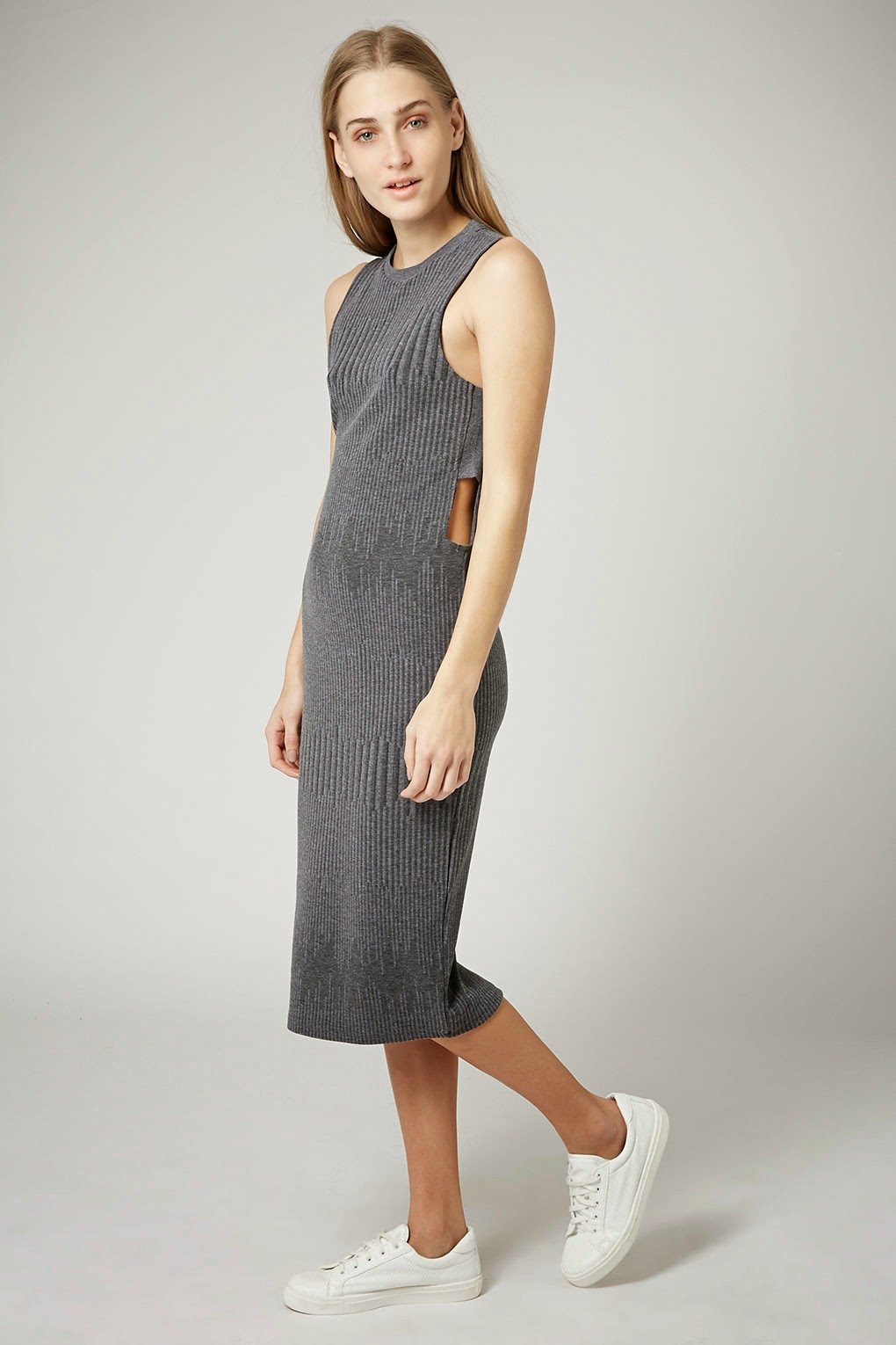 grey ribbed dress topshop
