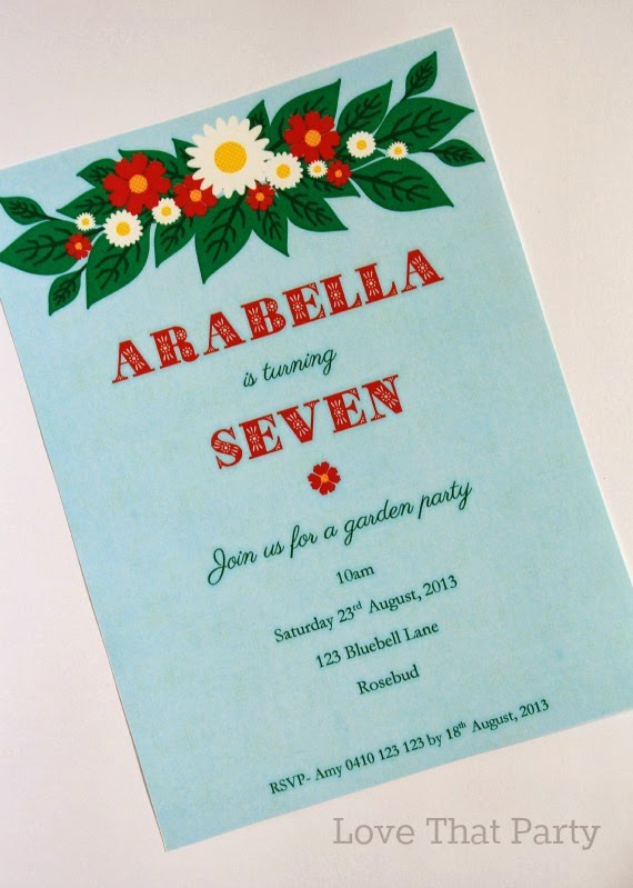 Printable Floral Garden Party Birthday Invitation in sky blue & red- Love That Party. www.lovethatparty.com.au