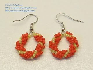 Earrings of beaded spiral rope
