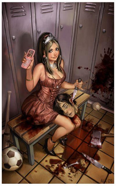 aly fell ilustrações mulheres sensuais fantasia sombria Colegial assassina
