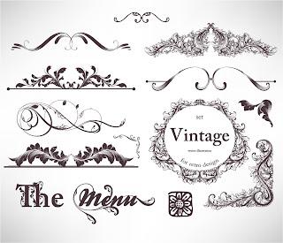 クラシック スタイルな植物柄の装飾 floral embellishment ornaments in vintage classic style イラスト素材1