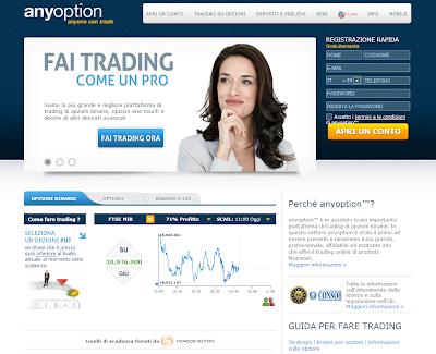 Guadagna online con il Trading e le Opzioni Binarie con un premio del 65-71%! Prova subito AnyOption!