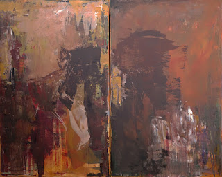 Terra Del Sol abstract painting by Karri McLean Allrich ©2015. Diptych is 48 x 60 inches