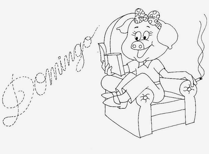 desenho da semaninha da porquinha domingo