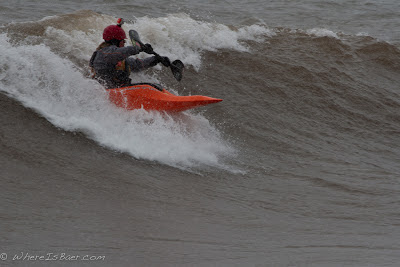 Scott Ewen showing off the North Shore break, stoney point, minnesota kayak surf, Chris baer,