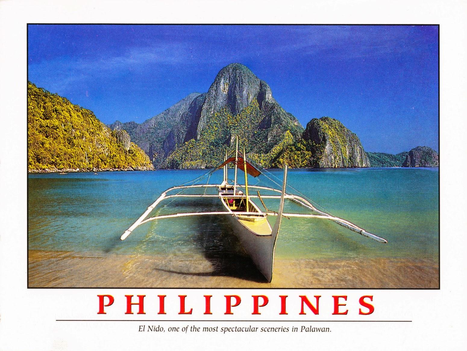 philippines, postcard, el nido, palawan, bangka, outrigger canoe, beach