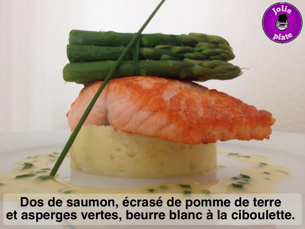 Jolie plate dos de saumon po l cras de pomme de terre et asperges vertes beurre blanc la - Asperge verte a la poele ...