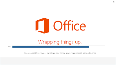Office 2013 Installation läuft, kann aber schon benutzt werden.