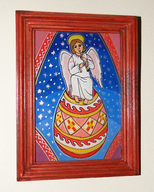 Easter Angel Glass Painting by Yaroslav Adamovych Lviv Ukraine