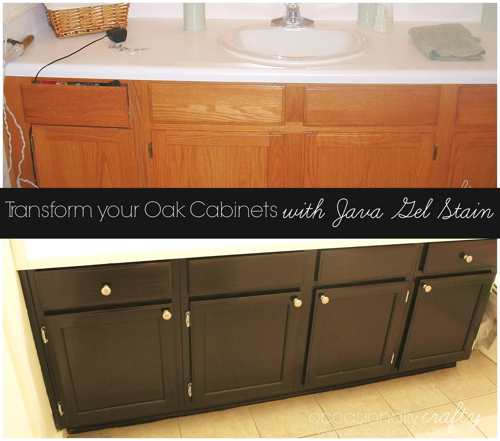 Elegant Transform Your Golden Oak Cabinets With Java Gel Stain | Occasionally  Crafty: Transform Your Golden Oak Cabinets With Java Gel Stain