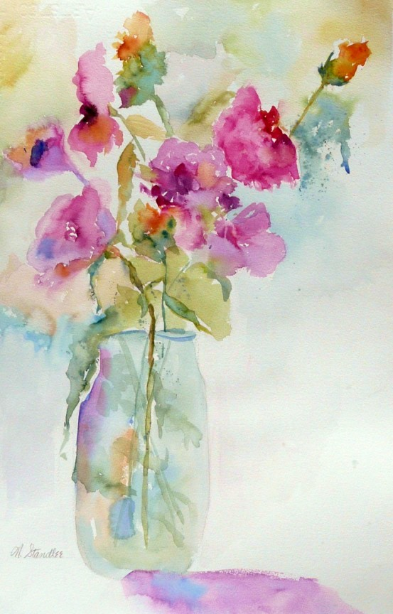 nancy standlee fine art watercolor floral painting 12102
