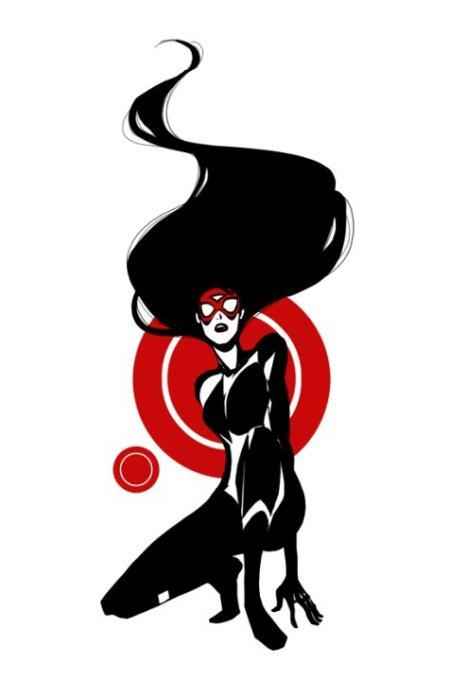 sho murase ilustrações singelas minimalistas espaço negativo mulheres super heroínas Mulher-Aranha