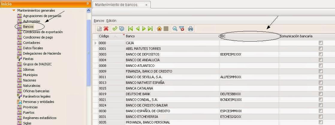 Sage murano sage 200c adaptaci n a sepa cartera de for Codigos oficinas bancarias